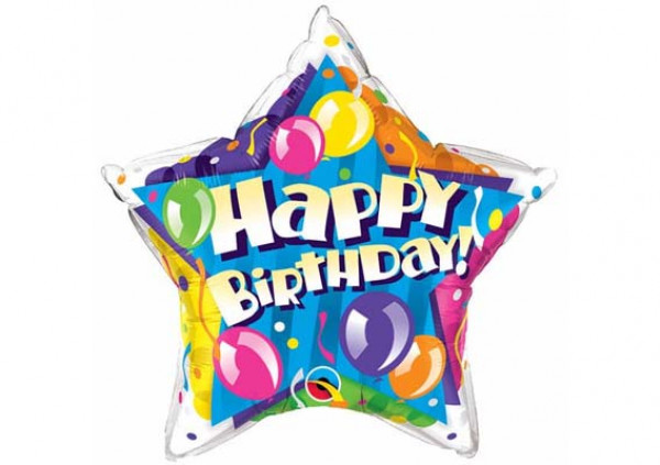 Happy Birthday Star Foil Balloon - Cakes 2 U